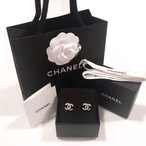 CHANEL Jewelry - Authentic 2019 Chanel Classic CC Crystals Earrings
